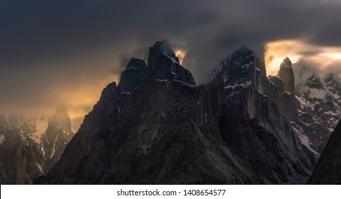 The Trango Towers are a family of rock towers situated in Gilgit-Baltistan, in the north of Pakistan. The Towers offer some of the largest cliffs and most challenging rock climbing in the world, and e