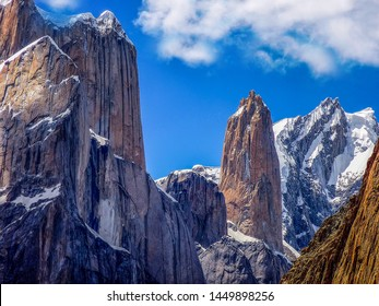 The Trango Towers are a family of rock towers situated in Gilgit-Baltistan, in the north of Pakistan. The Towers offer some of the largest cliffs and most challenging rock climbing in the world.