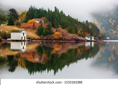 Tranquil autumn morning in Trinity Bay, Newfoundland and Labrador, Canada.