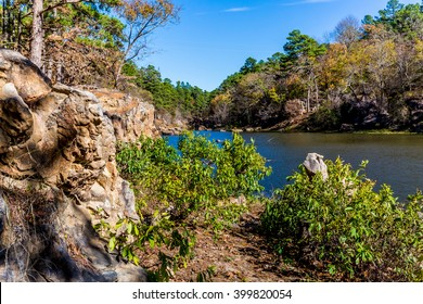 A Tranquil Autumn Outdoor Scene at Robbers Cave State Park in Oklahoma.