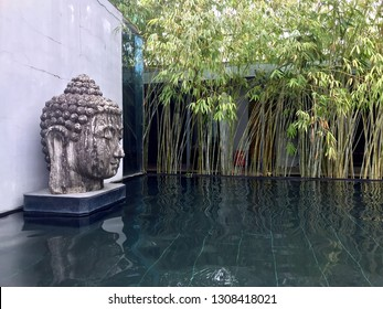 Tranquil Buddha head stone statue with reflection pool