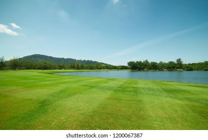Tranquil and clean green beautiful lawn field .