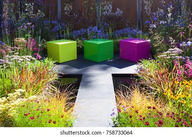 Tranquil garden landscape with patio area