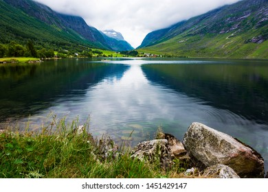 Tranquil landscape with Eidsvatnet lake and reflection in Eidsdal, More og Romsdal County, Norway