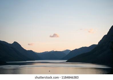 tranquil landscape at Gjende lake, Besseggen ridge, Jotunheimen National Park, Norway