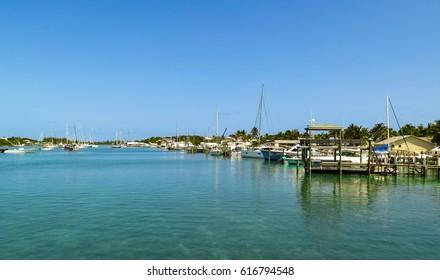 Tranquil marina at Man-o-War Cay, in Bahamas.