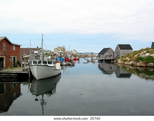 A tranquil morning at Peggy's Cove Harbour, Nova Scotia.
