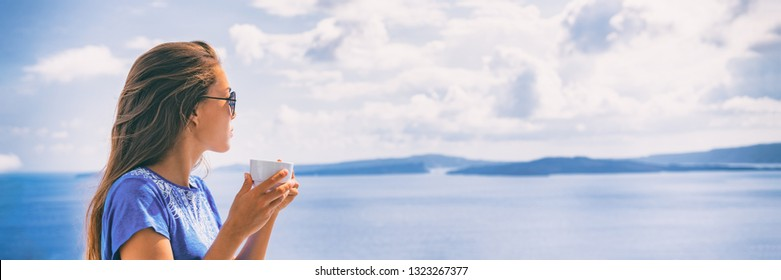 Tranquil morning serene woman relaxing drinking breakfast coffee enjoying ocean sea view on luxury hotel balcony, summer travel holidays. Home living banner panoramic landscape header.