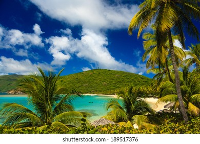 A tranquil sandy beach cove, Virgin Gorda, British Virgin Islands.