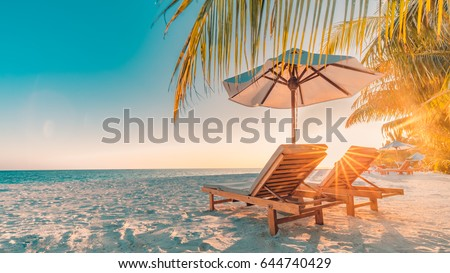 Tranquil scenery, relaxing beach, tropical landscape design. Summer vacation travel holiday design