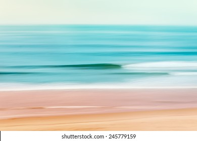 A tranquil seascape of the Pacific ocean off of California.  Image made using camera panning motion combined with a long exposure.