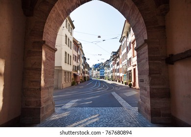Tranquil street of Basel old city with tram line