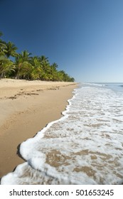 Tranquil summer day on Mission Beach, Queensland, Australia with gentle surf lapping the golden sand in a scenic landscape
