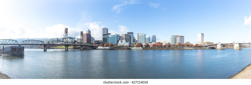 tranquil water,cityscape and skyline of portland