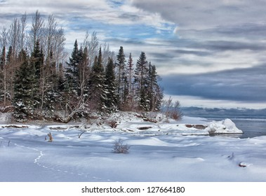 Tranquil, winter, scenic landscape on the south shore of Lake Superior.