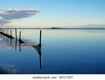 Tranquility and calm in the Baltic Sea at Ulfsund between the islands of Moen (møn) and Zealand (sjælland ,) in Denmark