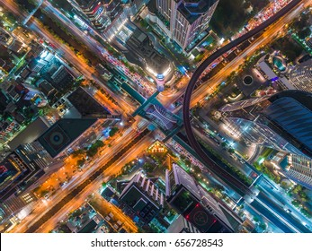 Transaction beautiful road top view at night traffic