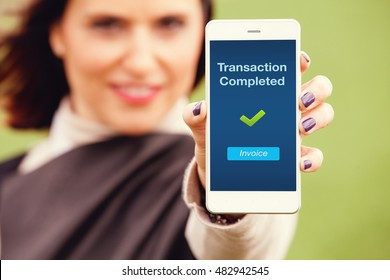 Transaction completed notification in a mobile screen.
