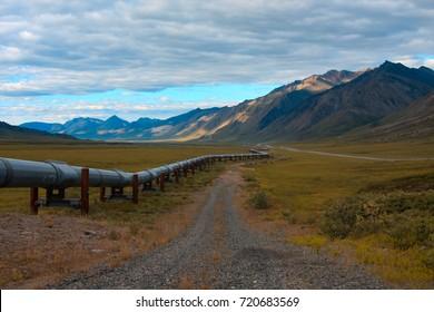 trans-alaskan oil pipeline at the north slope of Alaska.