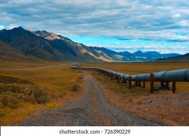 Trans-Alaskan oil pipeline in the north slope of alaska