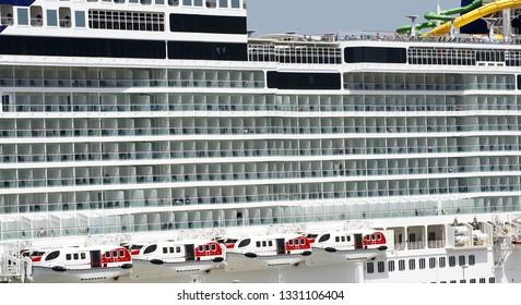 Transatlantic docked in the port of Marseille, France, Europe