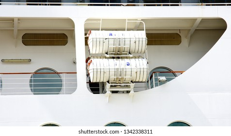 Transatlantic with lifeboats moored in the port of Barcelona, Catalunya, Spain