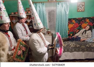 TRANSCARPATHIA - JAN 6, Carolers singing Nativity Scene in a mountain village in the Carpathian Mountains. Celebrating eve Orthodox Christmas on Jan 6, 2009 in Synevir Polyana. Transcarpathia. Ukraine