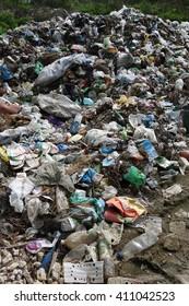 Transcarpathia, Ukraine - April 20, 2016: Garbage dump