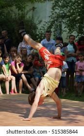 "TRANSCARPATHIA, UKRAINE - August 6, 2015: The annual festival of ""Street a workout"", August 6, 2015 in the Great Bychkov, Rakhiv district, Transcarpathian region."