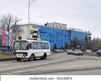 Transcarpathia, Ukraine - February 25, 2005: Uzhgorod - city in western Ukraine, the administrative center of the Transcarpathian region
