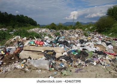 Transcarpathia, Ukraine - May 22, 2016: Garbage dump