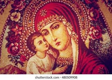 Transcarpathia, Ukraine - May 8, 2016: Sign of faith.The Madonna and Jesus