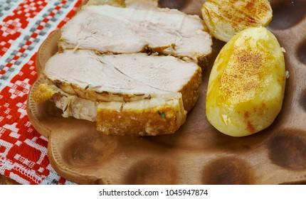 Transcarpathian cold boiled pork - pechenya na zimno - Shutterstock ID 1045947874