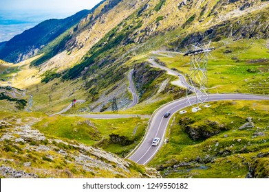 Transfagarasan pass. Crossing Carpathian mountains in Romania, Transfagarasan is one of the most spectacular mountain roads in the world. Wonderful mountain scenery.Mountain road with perfect blue sky