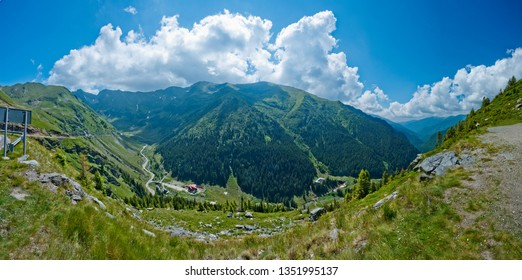 Transfagarasan pass - DN7C in summer. Crossing Carpathian mountains in Romania, Transfagarasan is one of the most spectacular mountain roads in the world. Panorama