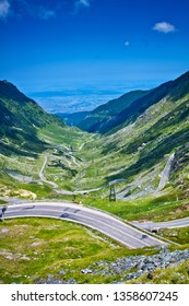Transfagarasan pass - DN7C in summer. Crossing Carpathian mountains in Romania, Transfagarasan is one of the most spectacular mountain roads in the world.