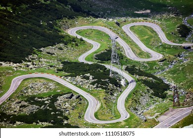 Transfagarasan pass in summer. Crossing Carpathian mountains in Romania, one of the most spectacular mountain roads in the world