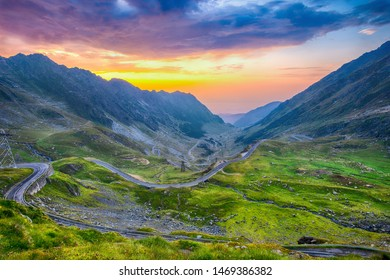 Transfagarasan pass at sunset. Crossing Carpathian mountains in Romania, Transfagarasan is one of the most spectacular mountain roads in the world
