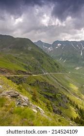 Transfagarasan road in Romania DN7C. Reaches 2034 m above sea level height.