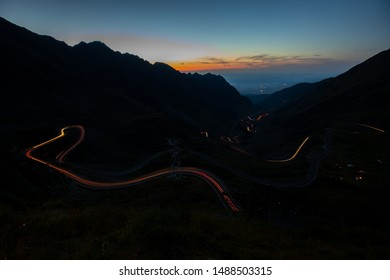 Transfagarasan Road in Romania, a paved mountain road crossing the southern section of the Carpathian Mountains.