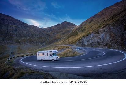 Transfagarasan road/Romania 2017-09-18 Sunset at Transfagarasan road in the middle of Carpathian forest