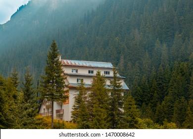 Transfagarasan, Roumania- 1saugust 2019: Balea cabin in the transfagarasan mountain in the forest