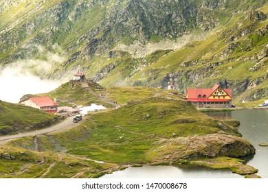 Transfagarasan, Roumania-01 august 2019- Balea lake with the balea cabin on the top of Transfagarasan mountain 2