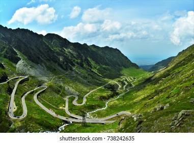 Transfagarasan,winding road in the mountains