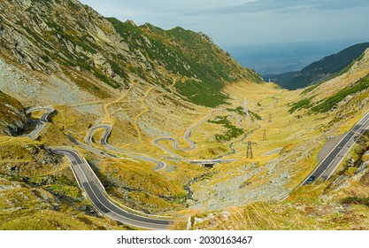 Transfagarasean view from above the road