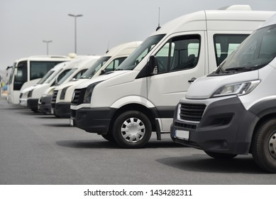 transfer shuttles and buses on parked in row