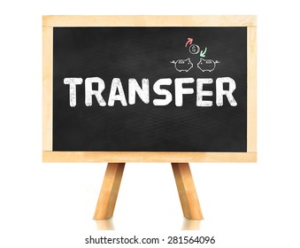 Transfer word on blackboard with easel isolated on white background with Clipping path at object,Banking concept