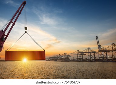 transfering of the shipment cargo in port from Land to the sea transport carrier by the ships from loading port to destination port in the logistics system services