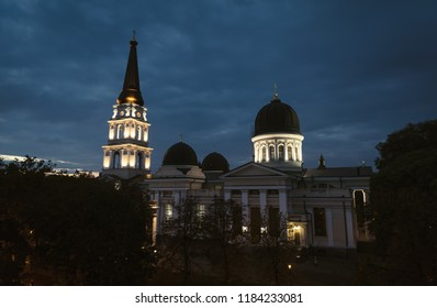 The Transfiguration Cathedral in Odessa is the Orthodox Cathedral in Odessa, Ukraine, dedicated to the Saviour's Transfiguration. The first and foremost church in the city of Odessa. Night scene