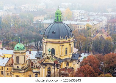 Transfiguration Church in Lviv on a foggy day, the top view